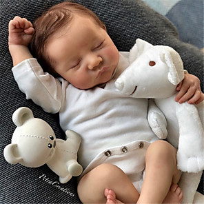 cheap Reborn Doll-20 inch Reborn Doll Baby & Toddler Toy Reborn Baby Doll Levi Newborn lifelike Hand Made Simulation Floppy Head Cloth Silicone Vinyl with Clothes and Accessories for Girls' Birthday and Festival Gifts