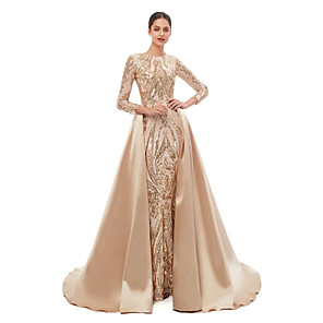 cheap Evening Dresses-Mermaid / Trumpet Elegant Vintage Prom Formal Evening Dress Jewel Neck Long Sleeve Detachable Sequined with Sequin 2020