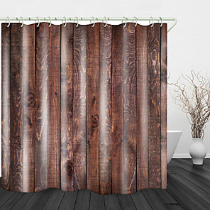 cheap Shower Curtains-Pine Wood Board Print Waterproof Fabric Shower Curtain for Bathroom Home Decor Covered Bathtub Curtains Liner Includes with Hooks