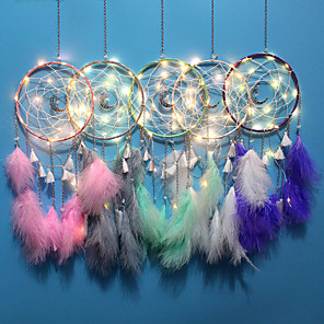 cheap Wall Stickers-Wall Dreamcatcher Led Handmade Feather Dream Catcher Braided Wind Chimes Art For room decoration Hanging home decor Decoration