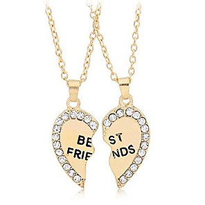 cheap Pendant Necklaces-best friends necklace for 2 bff broken heart necklace rhinestone bestfriends engraved letters pendant (gold)