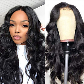 cheap Synthetic Trendy Wigs-Synthetic Wig Body Wave Asymmetrical Wig Very Long Black Synthetic Hair 28 inch Women's Fashionable Design Exquisite Romantic Black