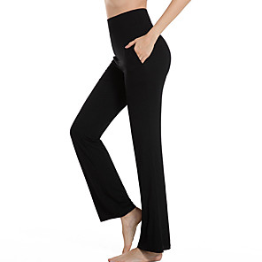 cheap Exercise, Fitness & Yoga Clothing-Women's High Waist Yoga Pants Side Pockets Elastic Waistband Tummy Control 4 Way Stretch Breathable White Black Burgundy Modal Fitness Gym Workout Pilates Sports Activewear High Elasticity Loose