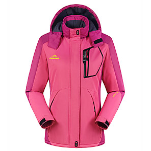 cheap Softshell, Fleece & Hiking Jackets-Women's Hiking Jacket Winter Outdoor Windproof Breathable Rain Waterproof Top Full Length Visible Zipper Camping / Hiking Climbing Cycling / Bike Purple / Red / Army Green / Fuchsia / Blue Hiking