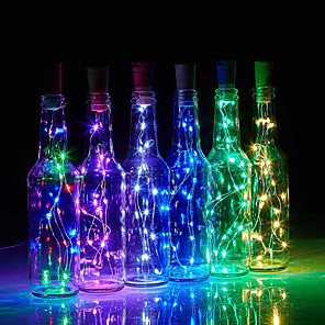 cheap LED String Lights-LED Bottle String Lights Cork Shaped 30pcs 12pcs 10pcs LED Night Starry Light 2m 20LED Copper Wire Stopper Wine Bottle Lamp Wedding Party Christmas Decoration