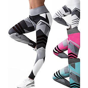 cheap Exercise, Fitness & Yoga Clothing-Women's High Waist Yoga Pants Patchwork Leggings Tummy Control Butt Lift 4 Way Stretch Black Fuchsia Green Mesh Fitness Gym Workout Running Sports Activewear High Elasticity / Quick Dry