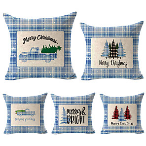 cheap Pillow Covers-1 Set of 5 pcs Christmas Series Decorative Linen Throw Pillow Cover 18 x 18 inches 45 x 45cm For Home Decoration Christmas Decoration