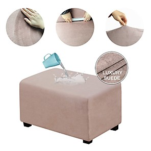 cheap Sofa Cover-Ottoman Cover Suede Slipcovers Rectangle Footrest Sofa Slipcovers Footstool Protector Covers Stretch Fabric Storage Ottoman Covers High Spandex Suede Slipcover WaterProof
