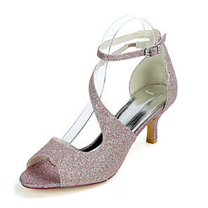 cheap Women's Sandals-Women's Wedding Shoes Kitten Heel Open Toe Sexy Wedding Party & Evening Buckle Solid Colored Gleit White / Light Purple / Champagne