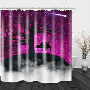 cheap Shower Curtains-Purple sky Print Waterproof Fabric Shower Curtain for Bathroom Home Decor Covered Bathtub Curtains Liner Includes with Hooks