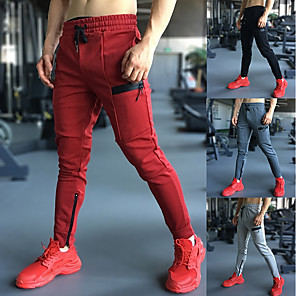 cheap Running & Jogging Clothing-Men's Joggers Jogger Pants Track Pants Casual Sweatpants Athleisure Wear Bottoms Drawstring Spandex Cotton Fitness Gym Workout Running Jogging 4 Way Stretch Soft Power Flex Sport Dark Grey Black Red