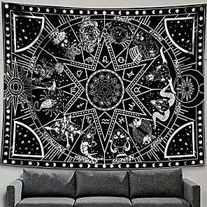 """cheap Wall Tapestries-12 constellation tapestry star sun tarot tapestry black and white hippy celestialbohemian home decor & #40;60"""" x 80""""& #41;"""