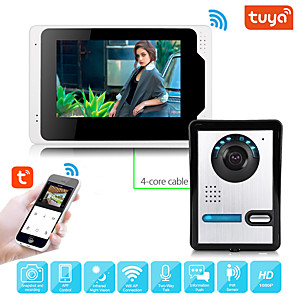 cheap Video Door Phone Systems-Wired Video Intercom System With Tuya 7 Inch Video Doorbell Door Phone Wired Video Door Phone HD 1080P Camera Kits Support Unlock Monitoring Dual-way Intercom for Villa Home Office Apartment
