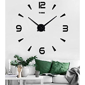 cheap Wall Clocks-large diy wall clock kit, 3d frameless wall clock with mirror number stickers for home living room bedroom office decoration-black