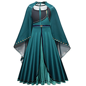 cheap Historical & Vintage Costumes-Kids Girls' Active Sweet Solid Colored Long Sleeve Maxi Dress Green