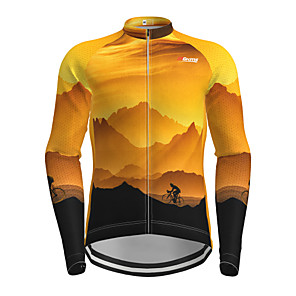 cheap Party Headpieces-Men's Long Sleeve Cycling Jersey Yellow Novelty Bike Jersey Top Mountain Bike MTB Road Bike Cycling Quick Dry Sports Clothing Apparel / Micro-elastic