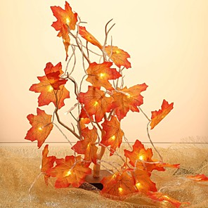 cheap LED String Lights-1pcs Fairy String Lights 3m 20 LED Maple Leaves Light Battery Operated for Outdoor Home Thanksgiving Party Decoration