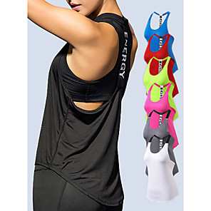 cheap Running & Jogging Clothing-YUERLIAN Women's Running Tank Top T Back White Black Red Fuchsia Blue Mesh Spandex Yoga Fitness Gym Workout Vest / Gilet Sport Activewear Lightweight 4 Way Stretch Breathable Quick Dry Moisture