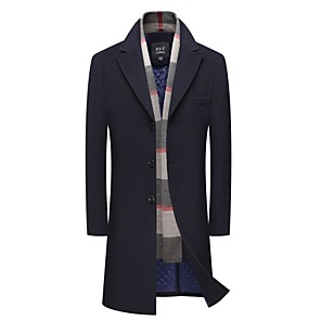 cheap Samsung Case-Men's Shawl Lapel Coat Long Solid Colored Daily Navy Blue Gray L XL XXL
