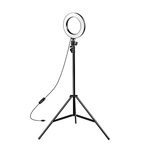 cheap LED Strip Lights-8-inch Selfie Ring Light with Adjustable Tripod Stand & Cell Phone Holder for Live Stream YouTube Video MakeupDimmable LED Camera Ringlight with 3 Light Modes