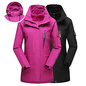 cheap Softshell, Fleece & Hiking Jackets-Women's Hoodie Jacket Hiking Jacket Winter Outdoor Solid Color Thermal Warm Windproof UV Resistant Breathable 3-in-1 Jacket Top Single Slider Camping / Hiking Ski / Snowboard Fishing Black / Fuchsia
