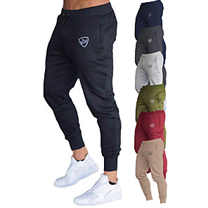 cheap Running & Jogging Clothing-Men's Sweatpants Joggers Jogger Pants Track Pants Athleisure Bottoms Drawstring Cotton Fitness Gym Workout Performance Running Training Breathable Quick Dry Soft Normal Sport Dark Grey Black Red Army