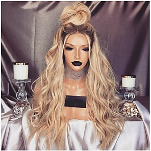 cheap Synthetic Lace Wigs-Synthetic Wig Curly Asymmetrical Wig Long Blonde Synthetic Hair 26 inch Women's Classic Exquisite Fluffy Blonde