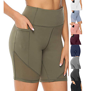 cheap Exercise, Fitness & Yoga Clothing-Women's High Waist Running Tight Shorts Athletic Leggings Bottoms with Phone Pocket Mesh Spandex Yoga Fitness Gym Workout Performance Running Active Training Tummy Control Butt Lift Breathable Sport