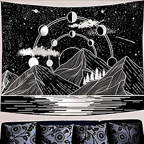 "cheap Wall Tapestries-mountain moon tapestry stars river black and white art tapestry wall hanging home decor & #40;50"" x 60""& #41;"