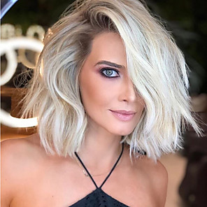 cheap Synthetic Trendy Wigs-Synthetic Wig Curly Asymmetrical Wig Short White Synthetic Hair 14 inch Women's Fashionable Design Classic Exquisite White
