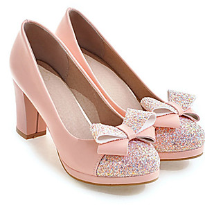 cheap Women's Heels-Women's Heels Wedge Heel Round Toe Classic Daily Bowknot Sequin Solid Colored PU White / Black / Pink