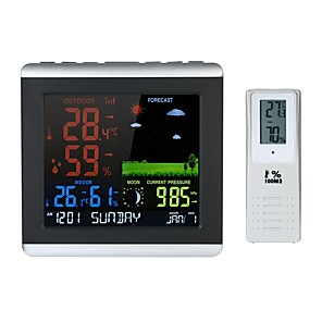 cheap Testers & Detectors-Wireless Weather Station Color LCD Weather Forecast Clock Indoor Outdoor Thermometer Hygrometer Barometer with Backlight Snooze Air Pressure Moon Phase Alarm Clock Calendar Function