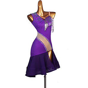 cheap Latin Dancewear-Latin Dance Dress Tassel Split Joint Crystals / Rhinestones Women's Performance Sleeveless Spandex