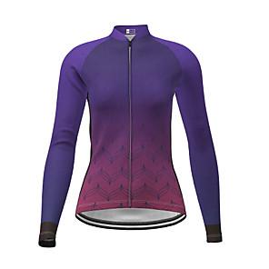 cheap Cycling Jersey & Shorts / Pants Sets-21Grams Women's Long Sleeve Cycling Jersey Winter Polyester Purple Gradient Bike Jersey Top Mountain Bike MTB Road Bike Cycling Quick Dry Back Pocket Sports Clothing Apparel / Micro-elastic