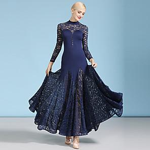 cheap Ballroom Dancewear-Ballroom Dance Dress Lace Split Joint Women's Performance Long Sleeve High Lace Milk Fiber
