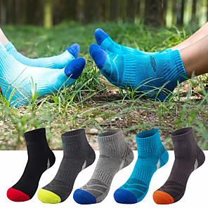 cheap Softshell, Fleece & Hiking Jackets-Men's Hiking Socks 5 Pairs Breathable Moisture Wicking Anti Blister Stretchy Socks Patchwork Cotton Autumn / Fall Spring Summer for Camping / Hiking Hunting Fishing