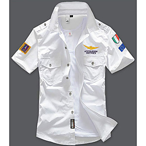 cheap Latin Dancewear-Men's Daily Shirt Geometric Sleeveless Slim Tops Cotton Streetwear Military White Black Blue