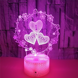 cheap 3D Night Lights-Oval Shape Decoration Light 3D Nightlight LED Night Light Night Light Touch Sensor Color-Changing Birthday Touch Halloween Christmas AAA Batteries Powered USB 1pc