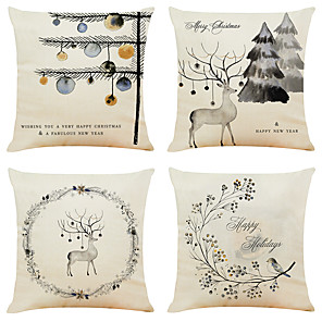 cheap Pillow Covers-Set of 4 Ink Christmas Linen Square Decorative Throw Pillow Cases Sofa Cushion Covers 18x18