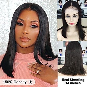 cheap Human Hair Wigs-Human Hair 4x4 Closure Wig style Brazilian Hair Natural Straight Wig 150% Density Women's Short Medium Length Human Hair Lace Wig Dolago