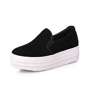 hesapli Kadın Düz Ayakkabıları ve Makosenleri-Kadın's Mokasen & Bağcıksız Ayakkabılar Platform Yuvarlak Uçlu Günlük Günlük Fiyonk Solid PU Yürüyüş Siyah / Bej / Gri