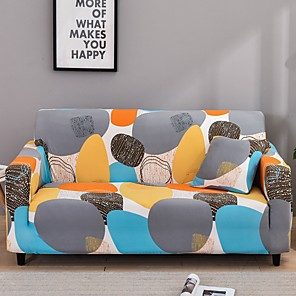 billiga myggnät-sträcka slipcover soffklädsel soffklädsel konst punkt tryckt soffklädsel stretch soffklädsel soffcover för 1 ~ 4 kudde soffa med en gratis örngott