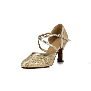 זול נעלי ריקודים ונעלי ריקוד מודרניות-בגדי ריקוד נשים נעליים מודרניות עקבים עקב עבה תחרה פרנזים זהב / כסף / הצגה