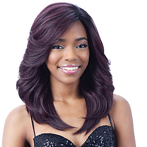 cheap Costume Wigs-Synthetic Wig Curly Bouncy Curl Pixie Cut Wig Medium Length Black / Purple Synthetic Hair 18 inch Women's Fashionable Design Soft Easy to Carry Black Purple