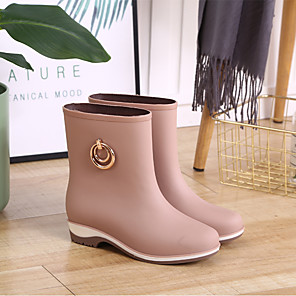 cheap Women's Boots-Women's Boots Rain Boots Block Heel Round Toe Daily Button Solid Colored PVC Walking Shoes Black / Purple / Beige