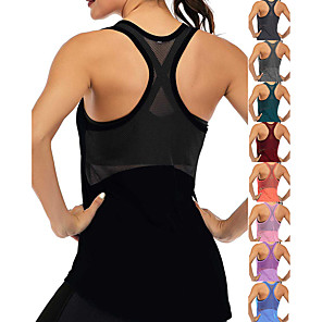 cheap Wetsuits, Diving Suits & Rash Guard Shirts-Women's Yoga Top Racerback Patchwork Dark Grey Black Blue Purple Navy Blue Mesh Cotton Fitness Gym Workout Running Tank Top T Shirt Sport Activewear Lightweight 4 Way Stretch Breathable Quick Dry