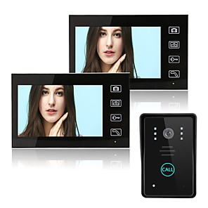 cheap Video Door Phone Systems-Wireless 2.4GHz 7 inch Hands-free 800*480 Pixel One to Two video doorphone