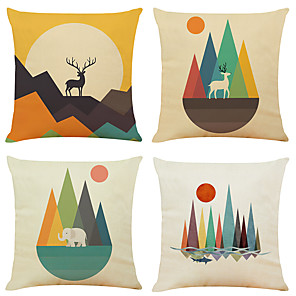 cheap Cushion Covers-Set of 4 Color Geometry Linen Square Decorative Throw Pillow Cases Sofa Cushion Covers 18x18