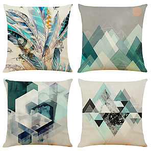 cheap Pillow Covers-Set of 4 Mosaic Geometry Linen Square Decorative Throw Pillow Cases Sofa Cushion Covers 18x18