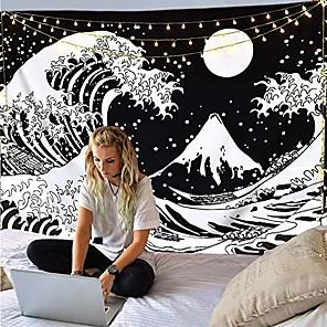 cheap Wall Tapestries-japanese painting style kanagawa wave wall tapestry art decor blanket curtain hanging home bedroom living room decoration ukiyo-e sea tarot black white